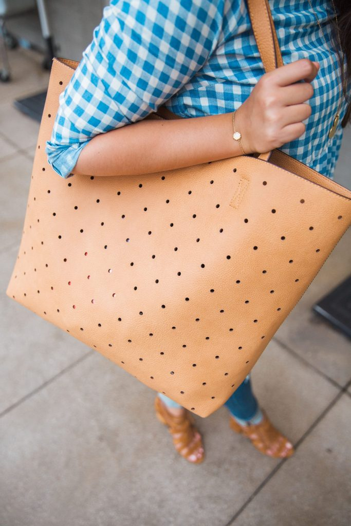 Camel perforated tote, Farrow, Sole Society