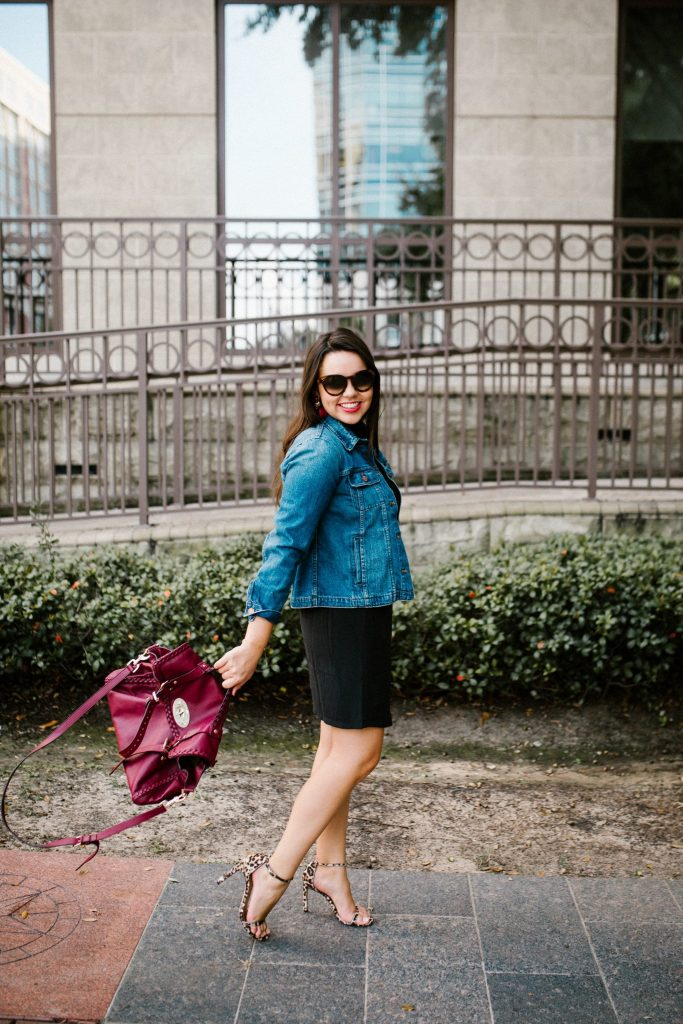Jean jacket and black skirt