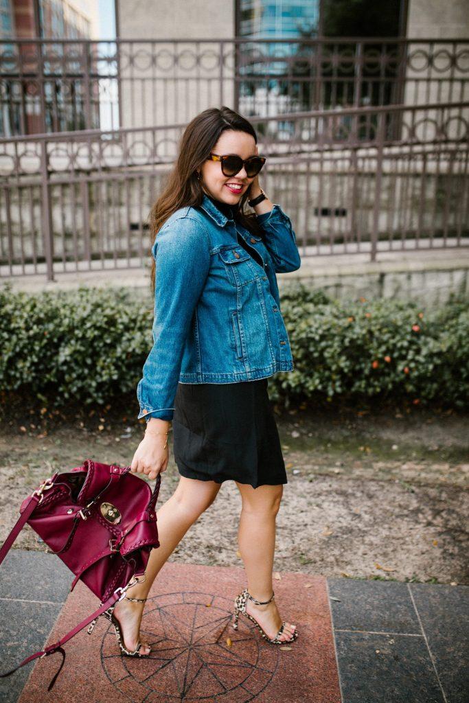 Black silk skirt and leopard print heels