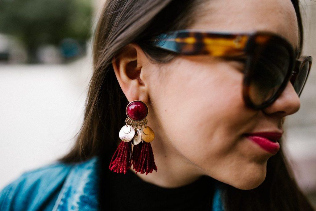 Burgundy tasseled earrings