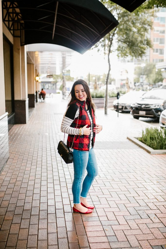 Plaid vest with a striped tee