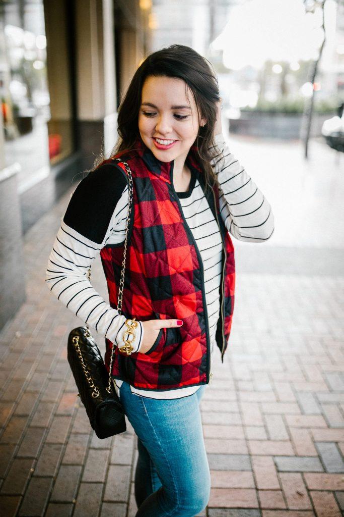 Quilted plaid vest