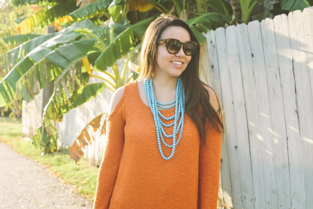 orange cold shoulder sweater