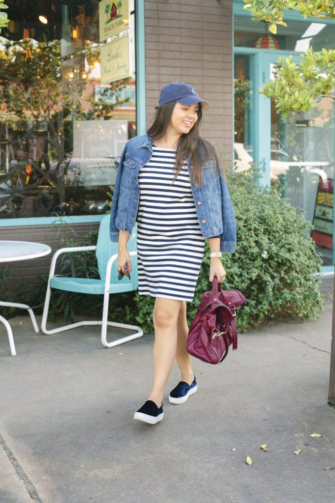 Striped shirt dress and velvet slip-on sneakers