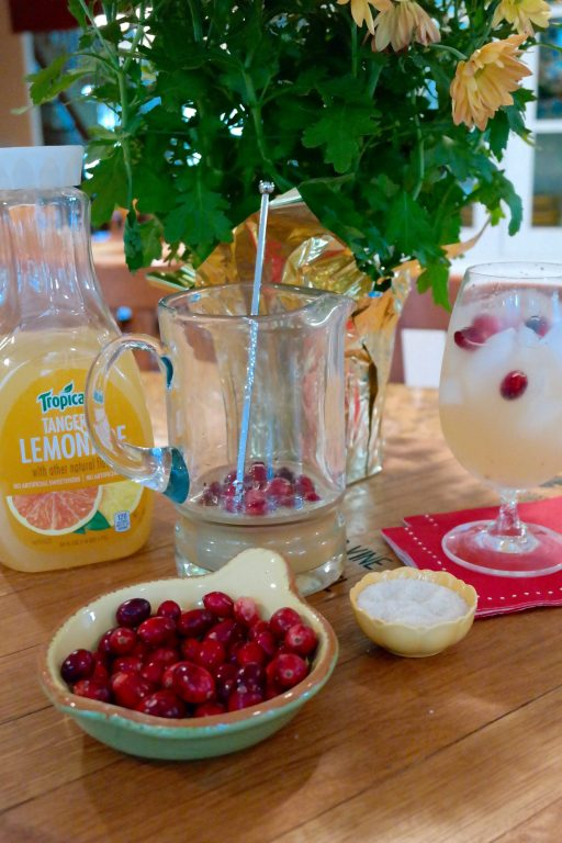 How delicious! A fresh cranberry tangerine lemonade cocktail