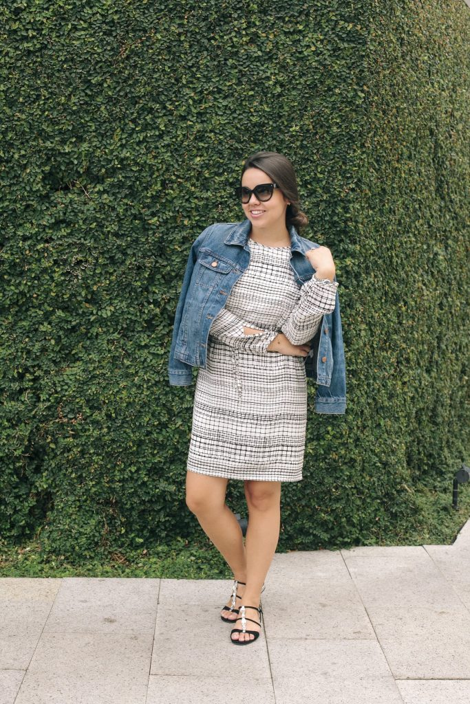 jean jacket tossed over a dress