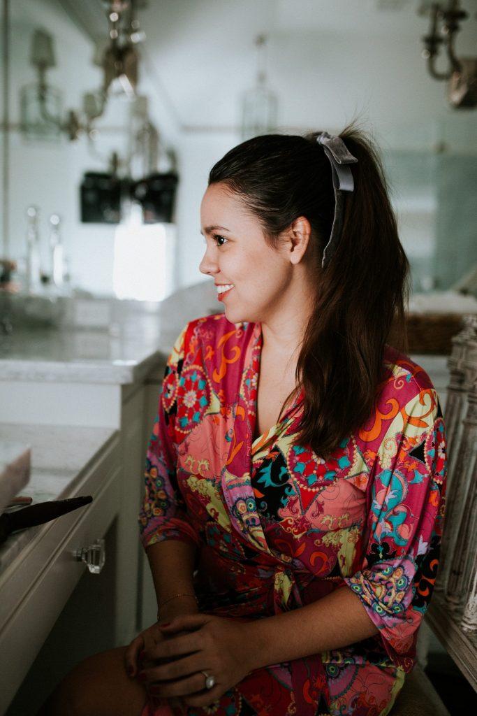 velvet hair bow for a ponytail