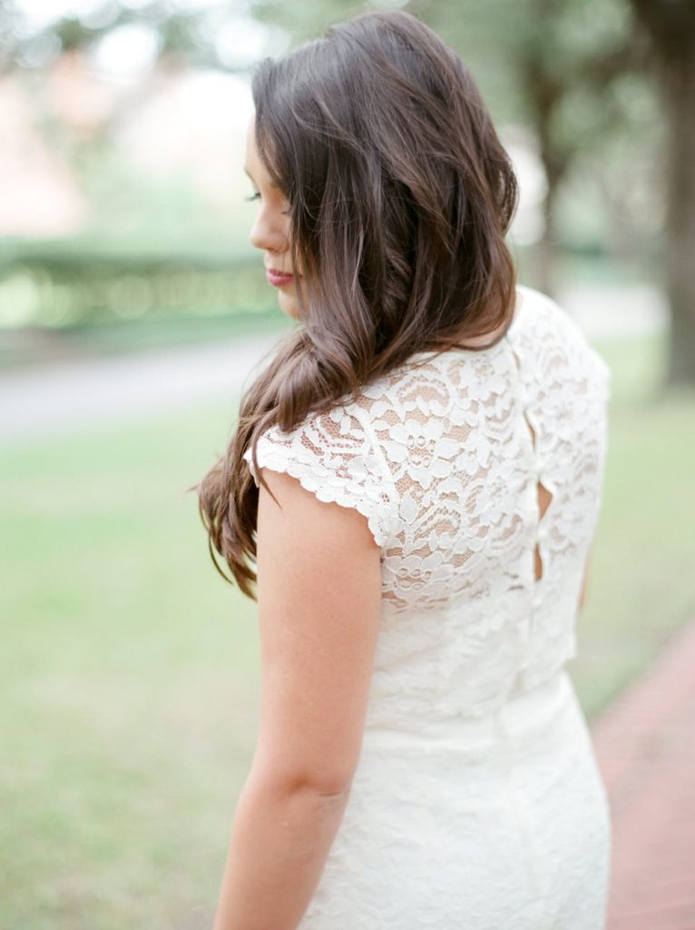 Lace cap sleeve dress, perfect for engagement photos and a timeless silhouette