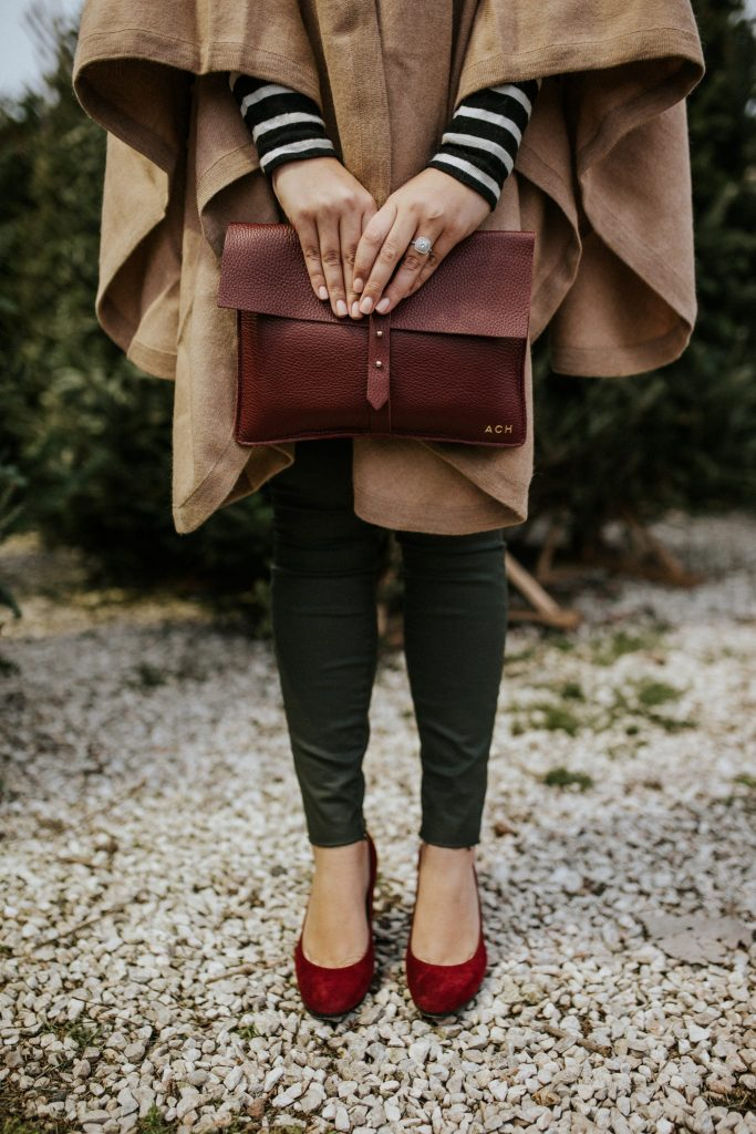 Burgundy clutch with burgundy heels - don't be afraid to match your bag to your shoes, a complete fashion faux pas!