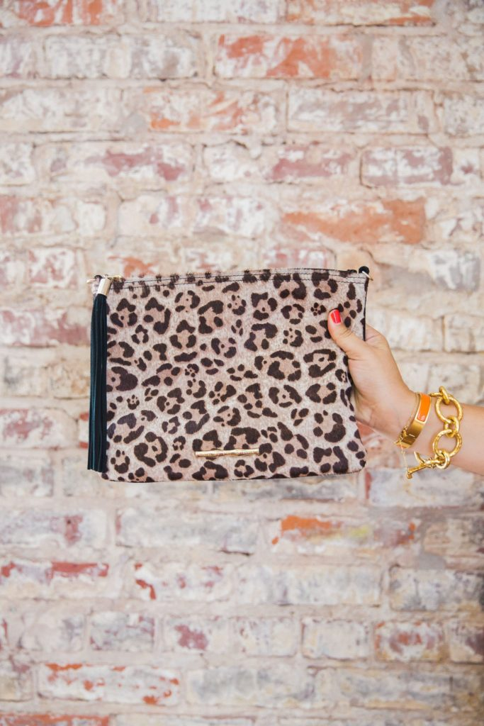The Elaine Turner Brindle clutch in jaguar haircalf. A must-have for every season!