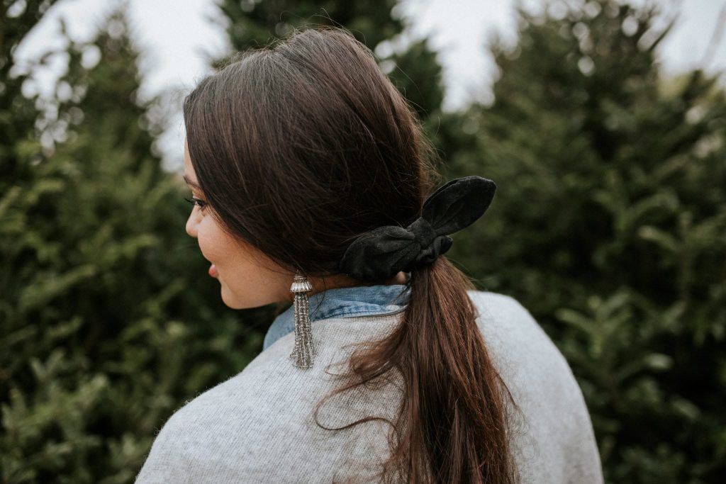 Make a statement with a velvet hair tie and beaded tassel earrings