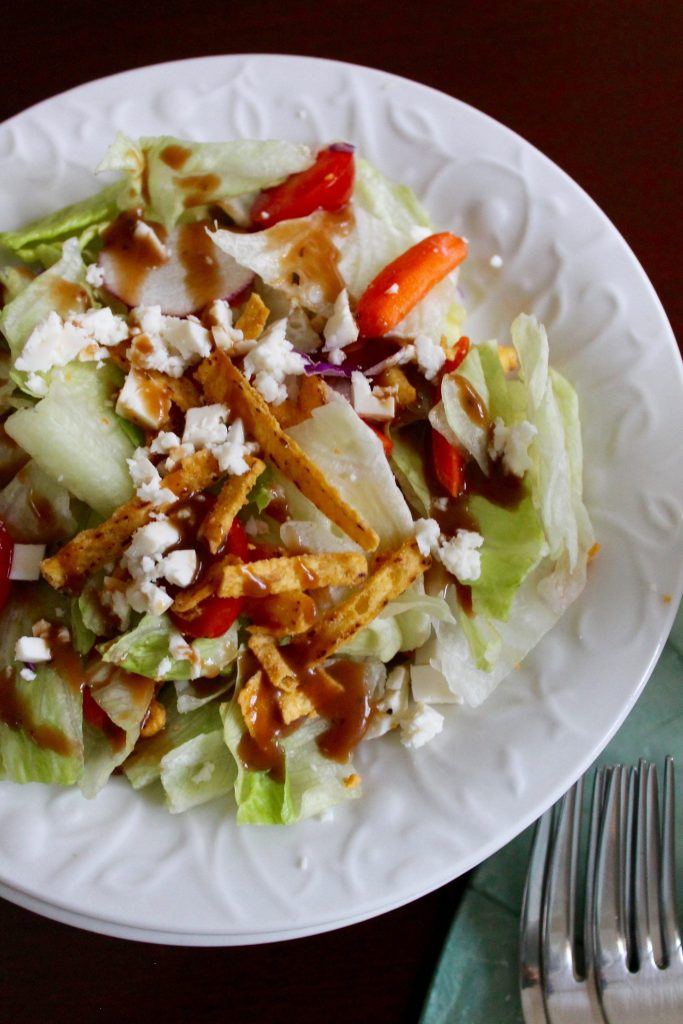 La Vaquita Queso Fresco crumbled on top of a Southwestern style appetizer salad