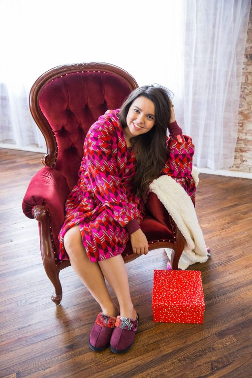 Vera Bradley Bohemian Chevron printed robe and throw blanket