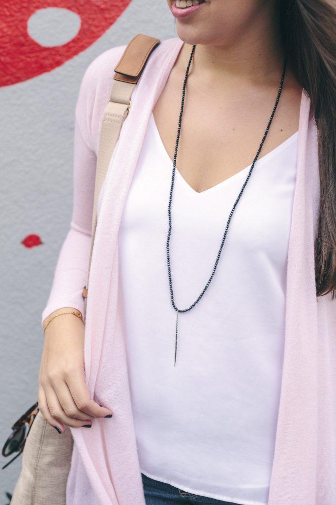 Gorjana necklace, beaded dainty jewelry