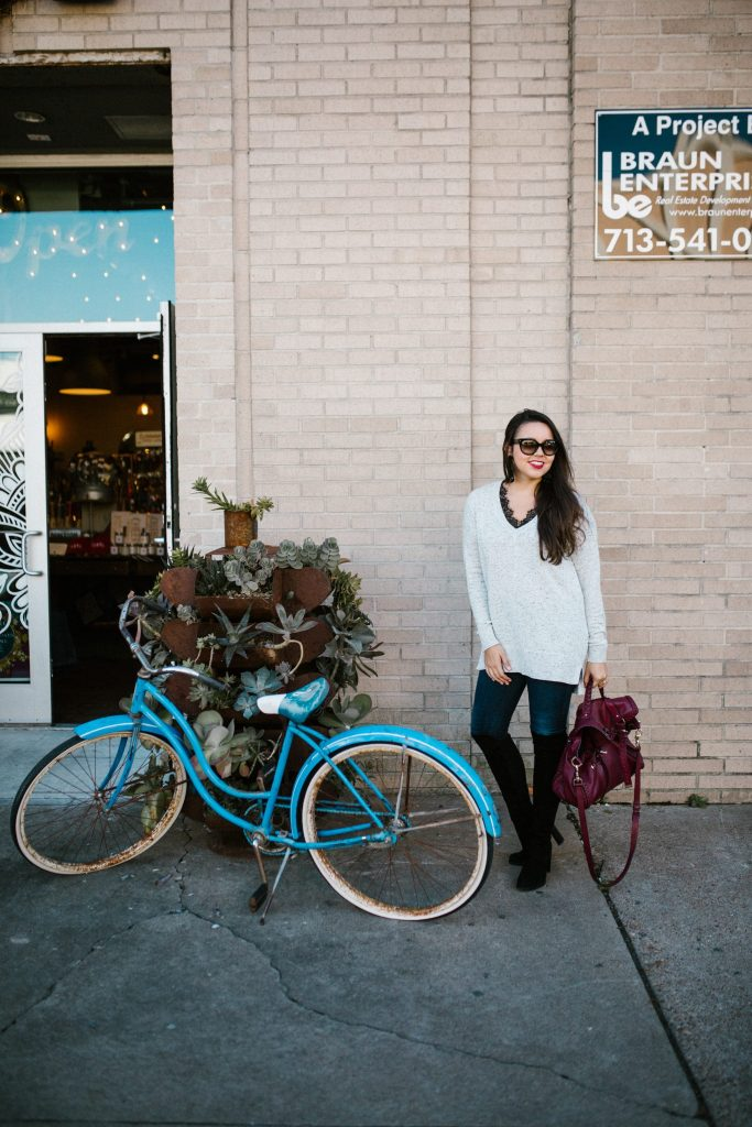 vintage beach cruiser bike, winter outfit idea