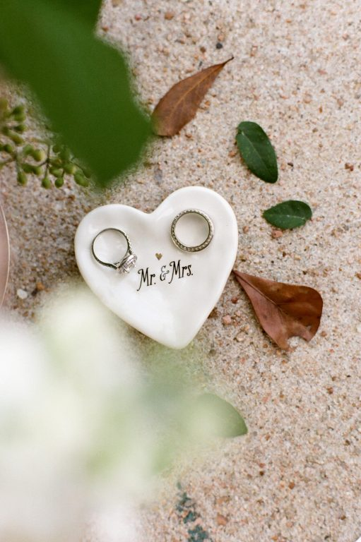 wedding ring photography ideas - mr. and mrs. heart shaped dish