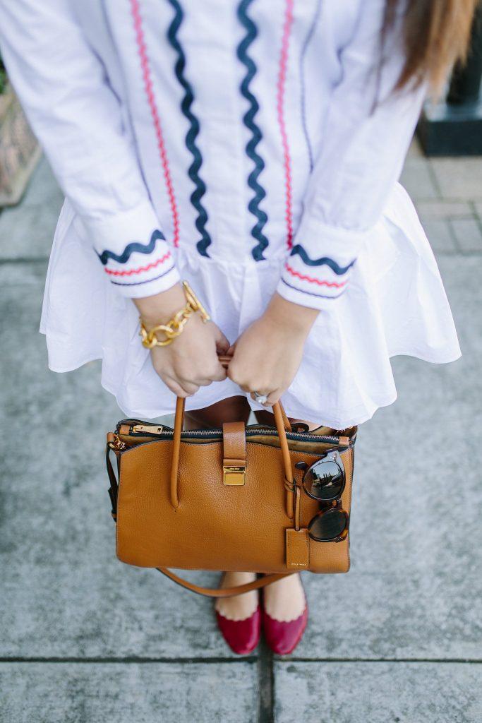 Chic accessory ideas, Miu Miu Madras satchel
