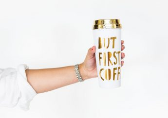 But First Coffee - gold travel mug
