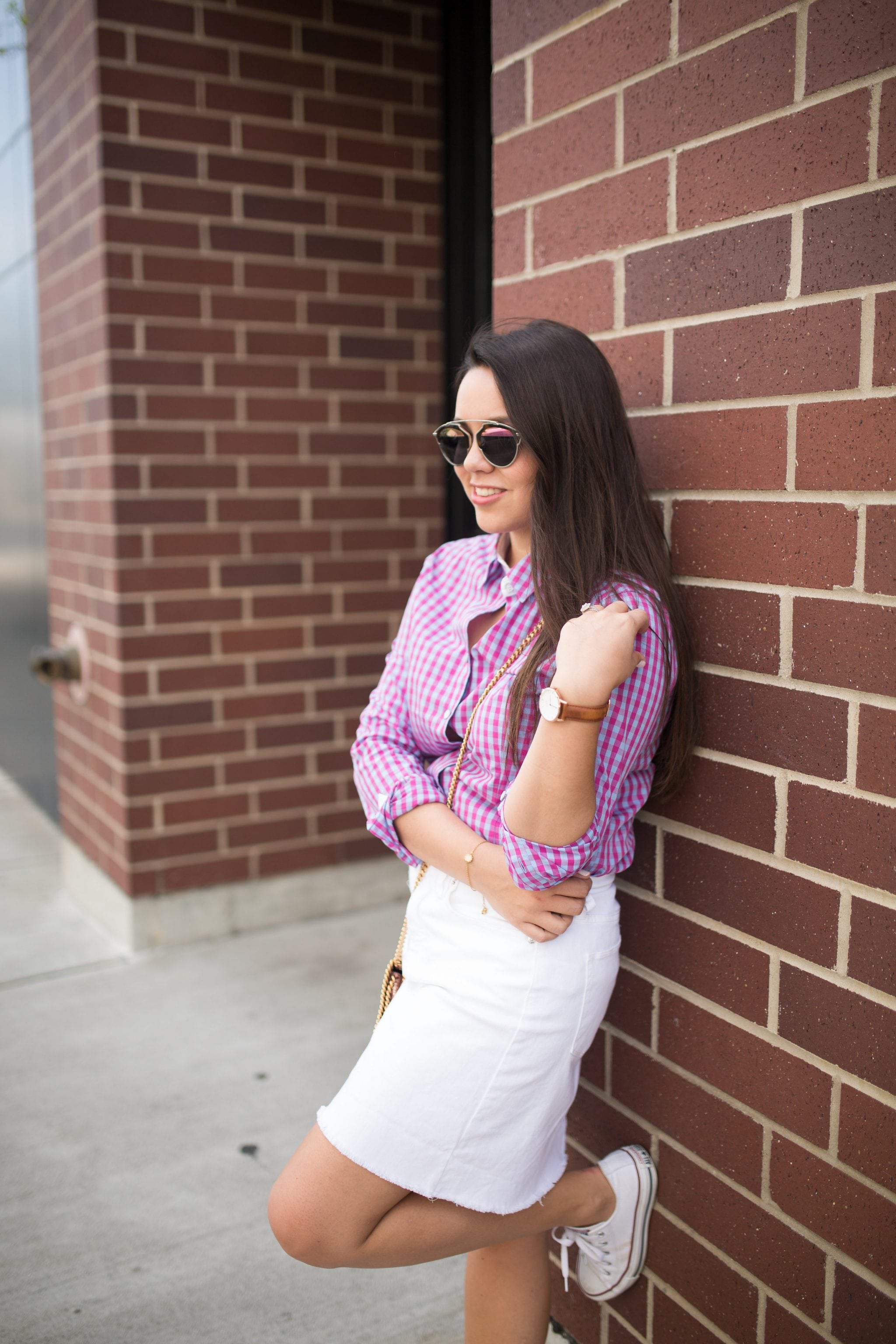 Gingham button down shirt outfit idea