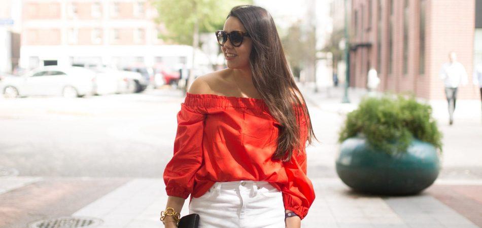 under $50 red off the shoulder top, white denim skirt