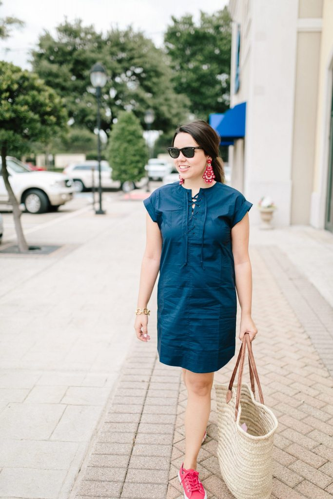 Navy lace-up shirtdress | Red Superego sneakers