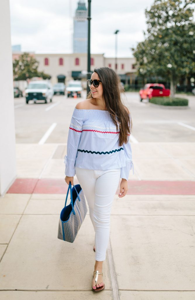 off the shoulder striped top with white jeans for summer