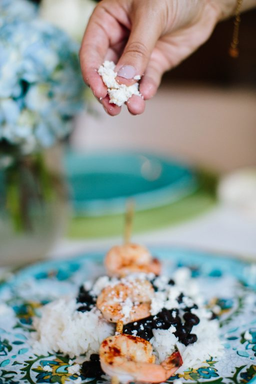 Grilled shrimp skewers with queso fresco