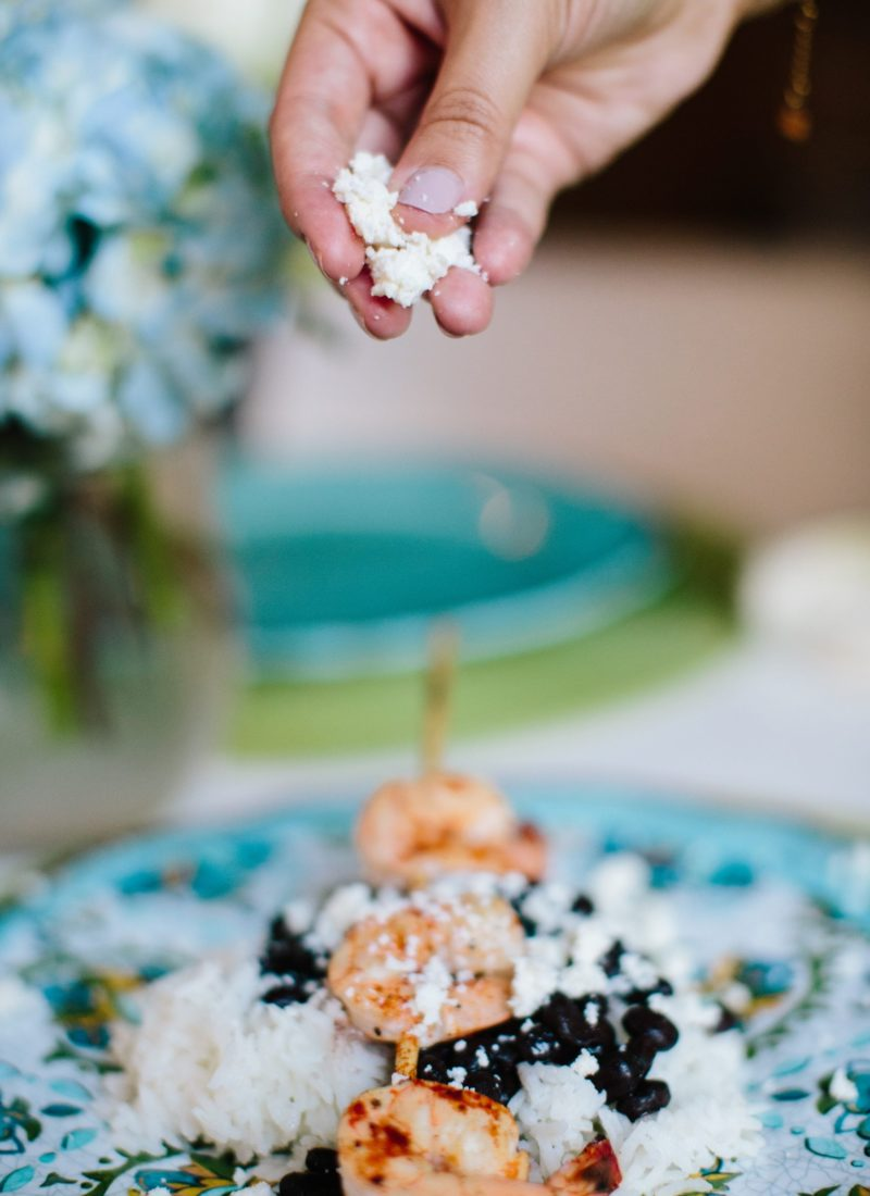 Grilled Shrimp with Queso Fresco Crumbles