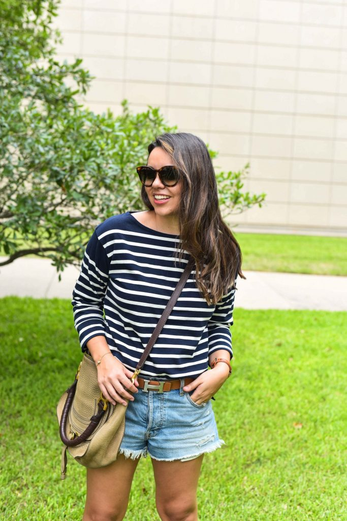 perfect striped tee | navy striped shirt | preppy stripes