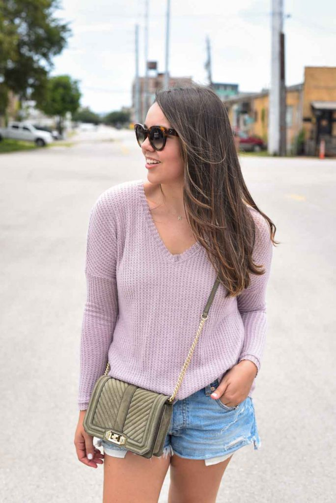 Long-sleeve pullover with cutoff shorts | Summer outfit ideas