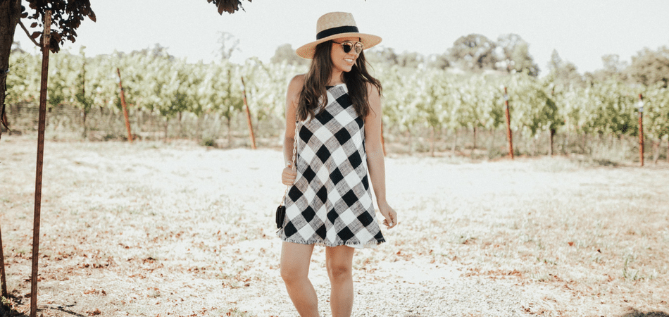 gingham dress at the vineyards - adored by alex