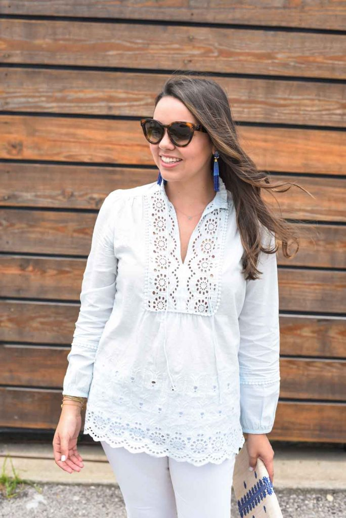 blue eyelet tunic | Stella and Dot accessories