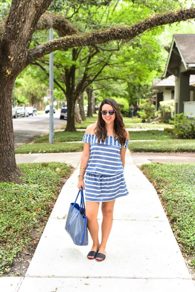Summer striped dress   Off the shoulder trend