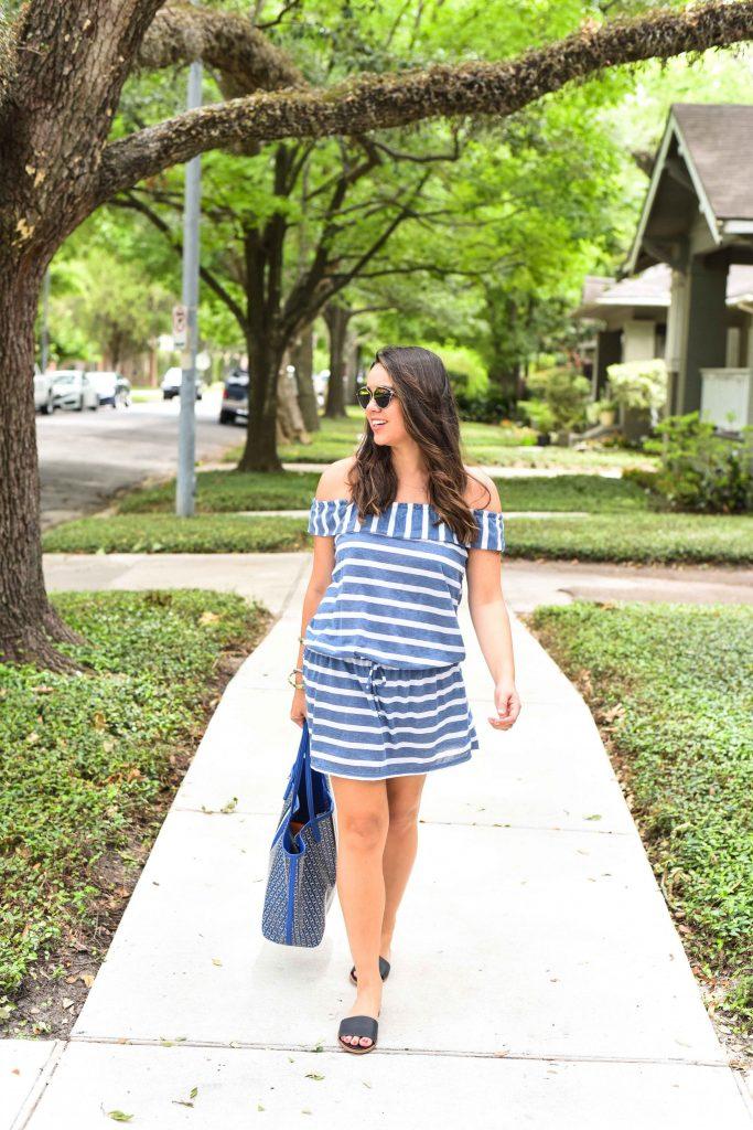 Splendid off the shoulder dress   Summer striped dress