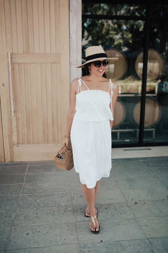white popover midi dress in wine country