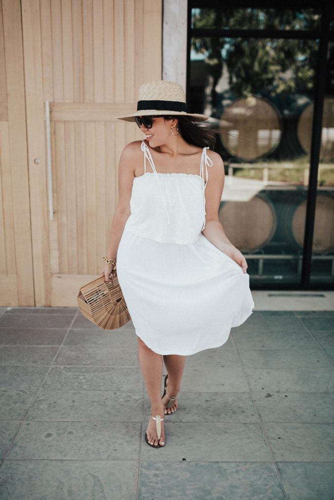 wine tasting outfit ideas | cult gaia bag outfit styling