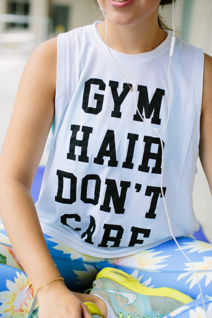 gym hair don't care muscle tank