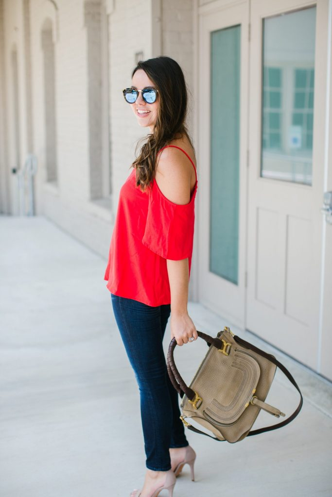 red cold shoulder top, budget-friendly outfits