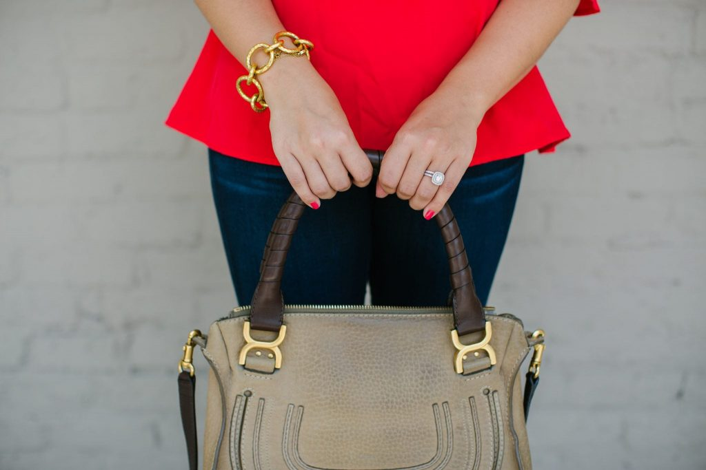 Chloe Marcie satchel, double halo engagement ring, red manicure
