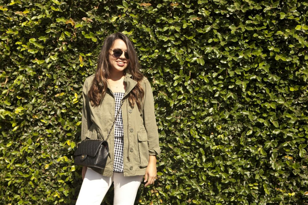 military jacket outfit ideas, gingham tank