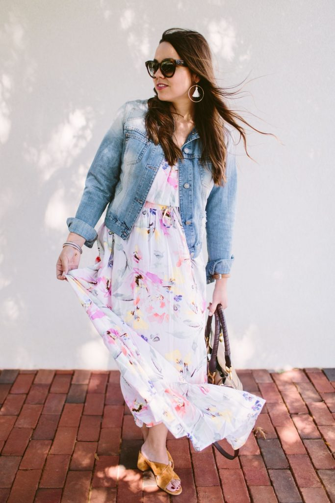 denim jacket, plum pretty sugar dress
