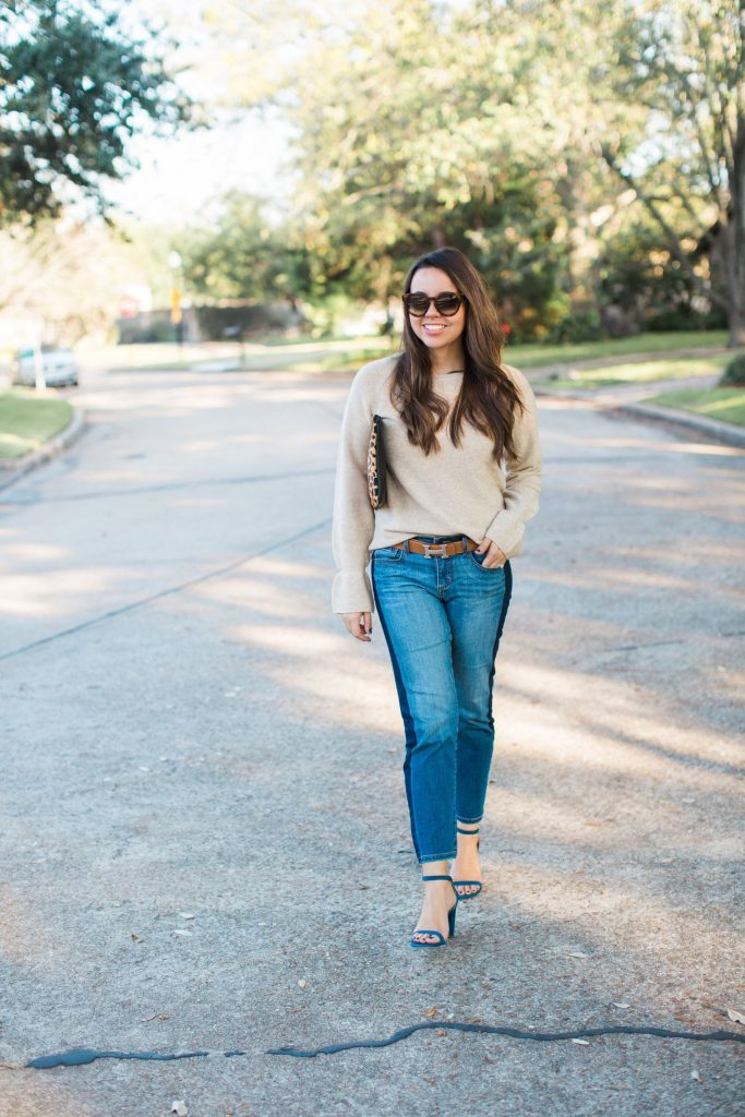 Flare cuff sweater, gold knit sweater, fall must-have sweaters