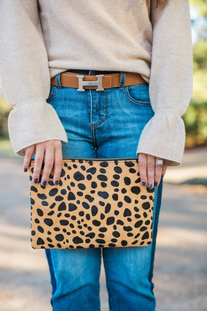 Leopard clutch, Clare V dupe, Flare sleeve sweater