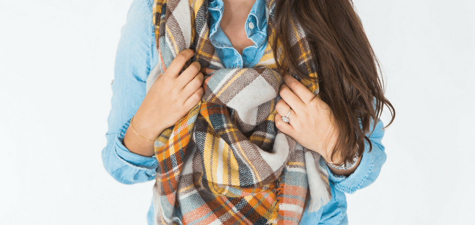 how to tie a blanket scarf - adored by alex