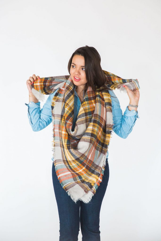 plaid scarf how to tie, fall style