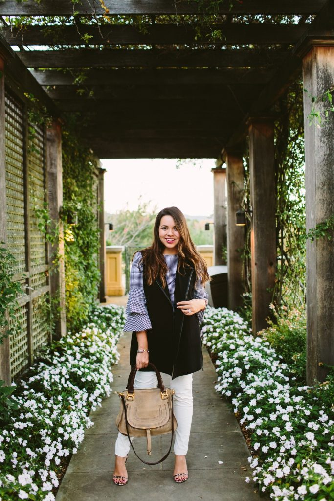 how to wear a vest for fall, gingham outfit ideas