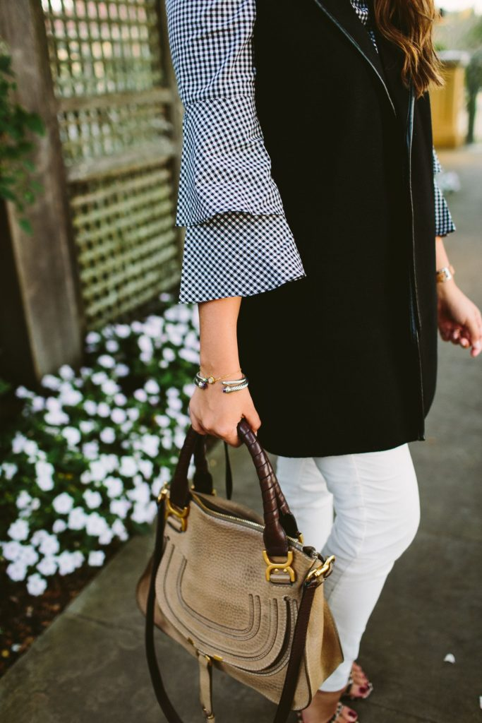 ruffle sleeve top, Gingham tops, Chloe Marcie satchel