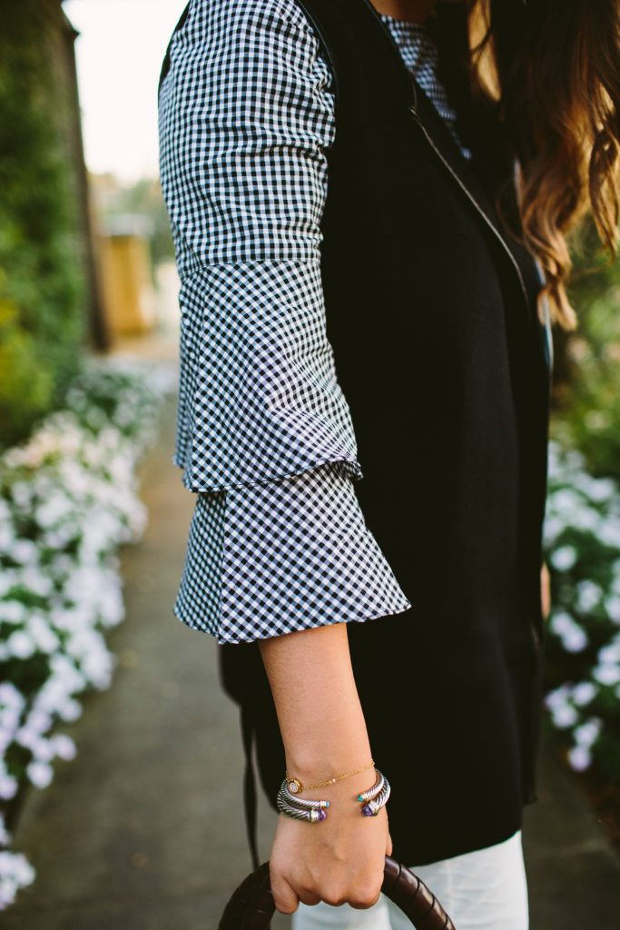 gingham ruffle sleeve top, trendy tops for fall