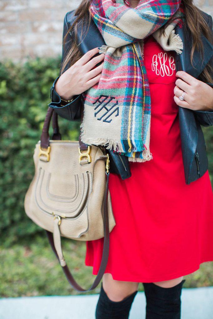 Chloe Marcie satchel, monogrammed blanket scarf