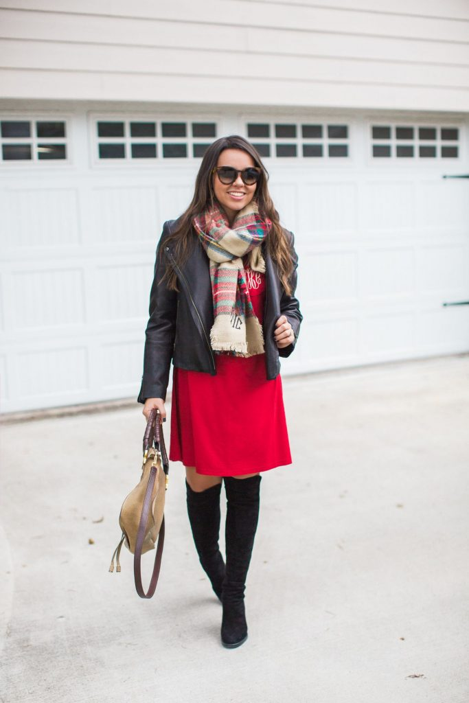 Stuart Weitzman boot outfit ideas, holiday outfits
